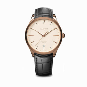 The Swiss Classico - Rose Gold w. Black Leather