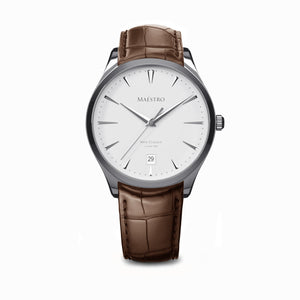 The Swiss Classico - Silver w. Brown Leather