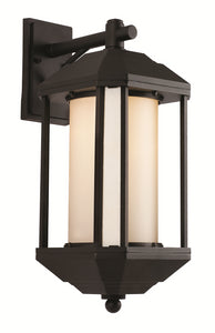 "TGL - 60 Watt LED - Downtown Trolley - 16"" Wall Lantern - Black/Bronze - Ridged Yellow Frosted Cover - Medium Base"