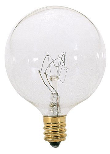 S3821 - Satco - 15 Watts - G16 1/2 Incandescent - Clear Bulb - Candelabra Base - 120V
