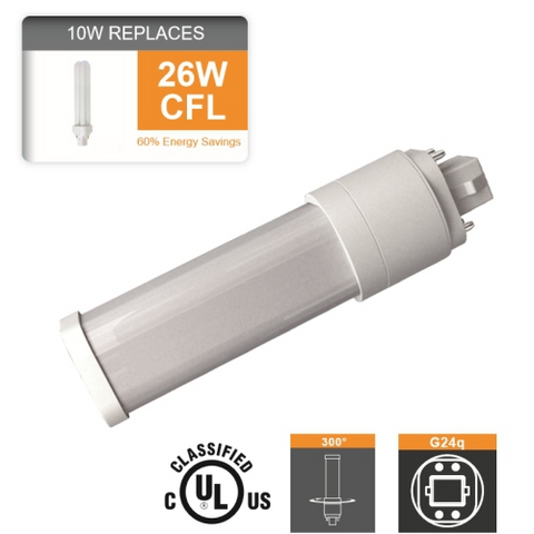 Vgl Plc Led 10 Watt G24q 4pin 26w Cfl