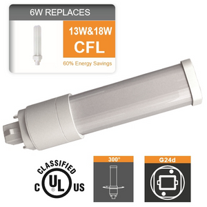 PLC LED 6 Watt G24Q 2PIN 13W or 18W CFL Replacement