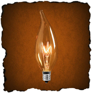 Vintage - Edison Flame Tip Bulb - 15 Watt - Light Gold - Filament - Candelabra Base - Lumin L1892