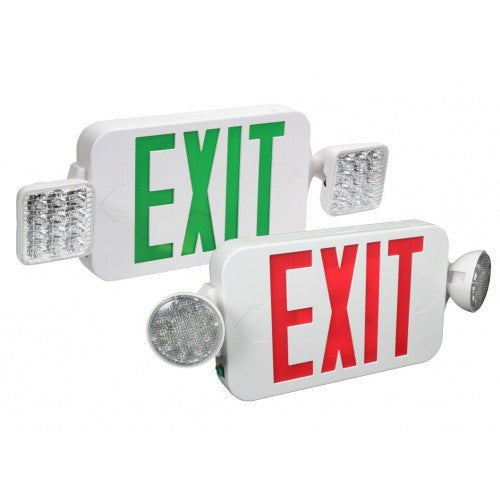 Orbit - Micro LED Emergency Light/Exit Combo Unit with Battery Back-Up - White Housing Color - Red/Green Exit