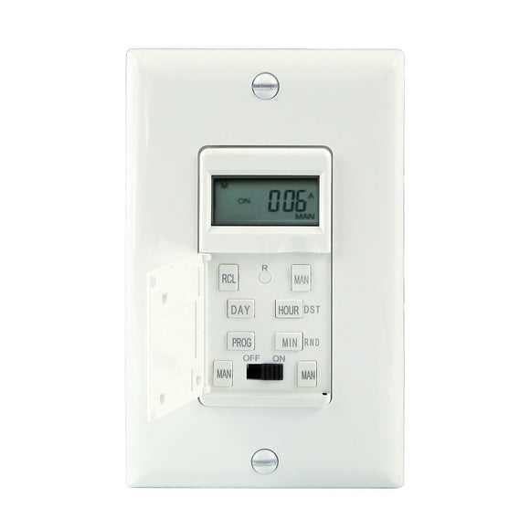 Enerlites - HET01 - 7 Day Heavy Duty Digital in-Wall Timer - 1800W - White/Ivory Color