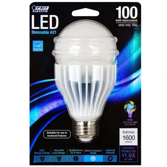 Feit - LED - 16 Watts - Omni Directional Dimmable - 5000K - Warm White - 120V - E26 Base - 1600 Lumens