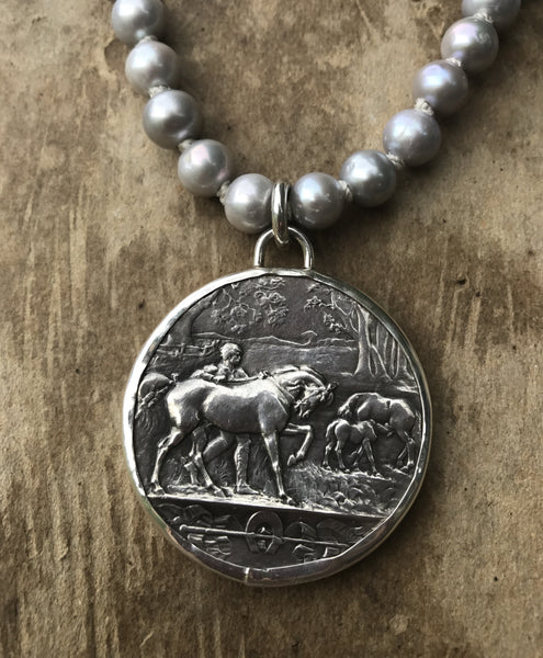 French Agricultural Medal on Silver Pearls