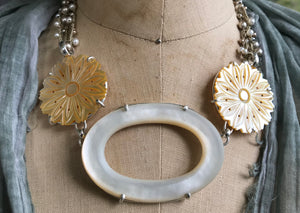 Amazing Mother-of-Pearl Button & Buckle Necklace