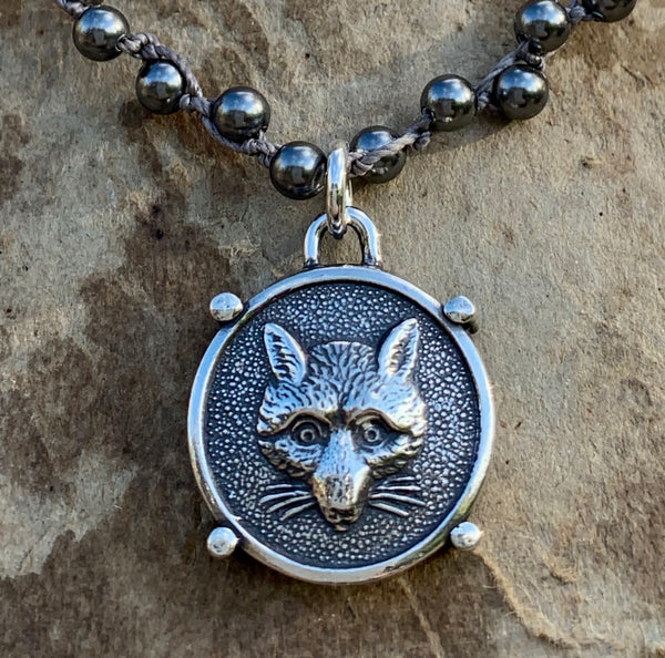Fabulous Sterling Fox Mask on Dark Grey Pearls