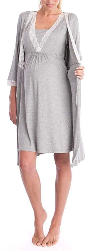 Nursing Nightgown and Robe Set for Hospital and Home