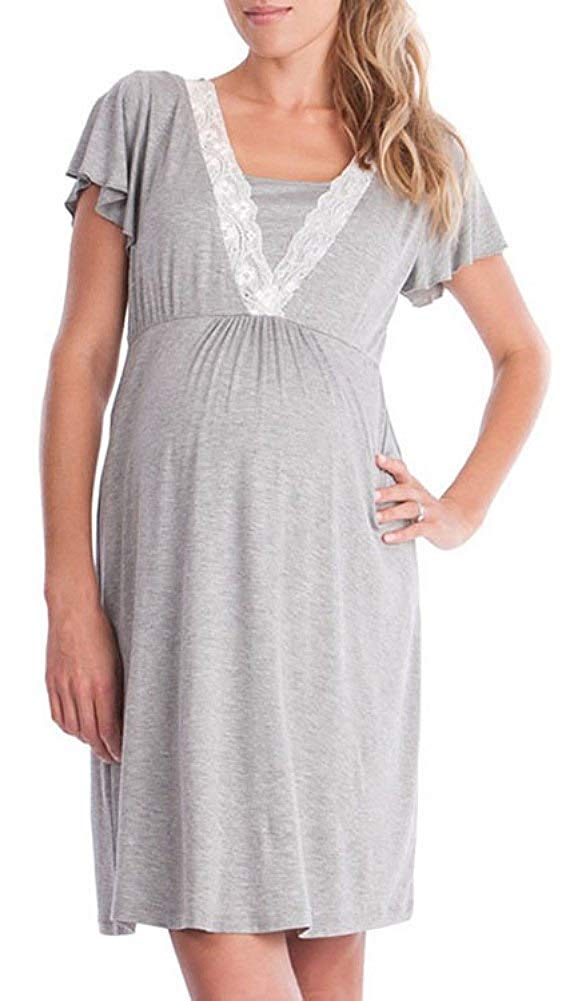 Nursing Nightgown And Robe Set For Hospital And Home One Hot Mama Maternity