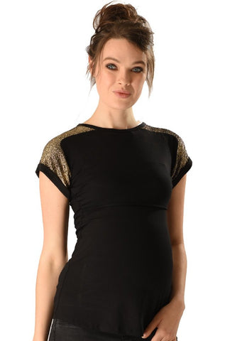 Peek-A-Boo Nursing Maternity Bling Tee Top