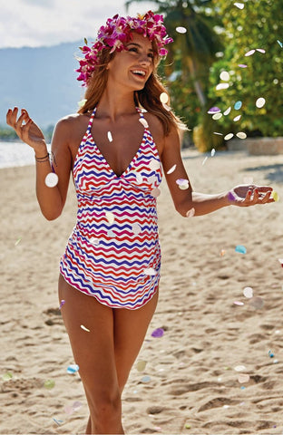 Anita Kamaka Graphic Wave Maternity Tankini