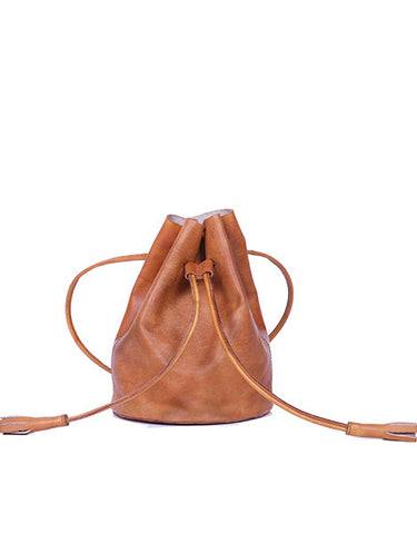 Concettina Drawstring Bag - Cognac