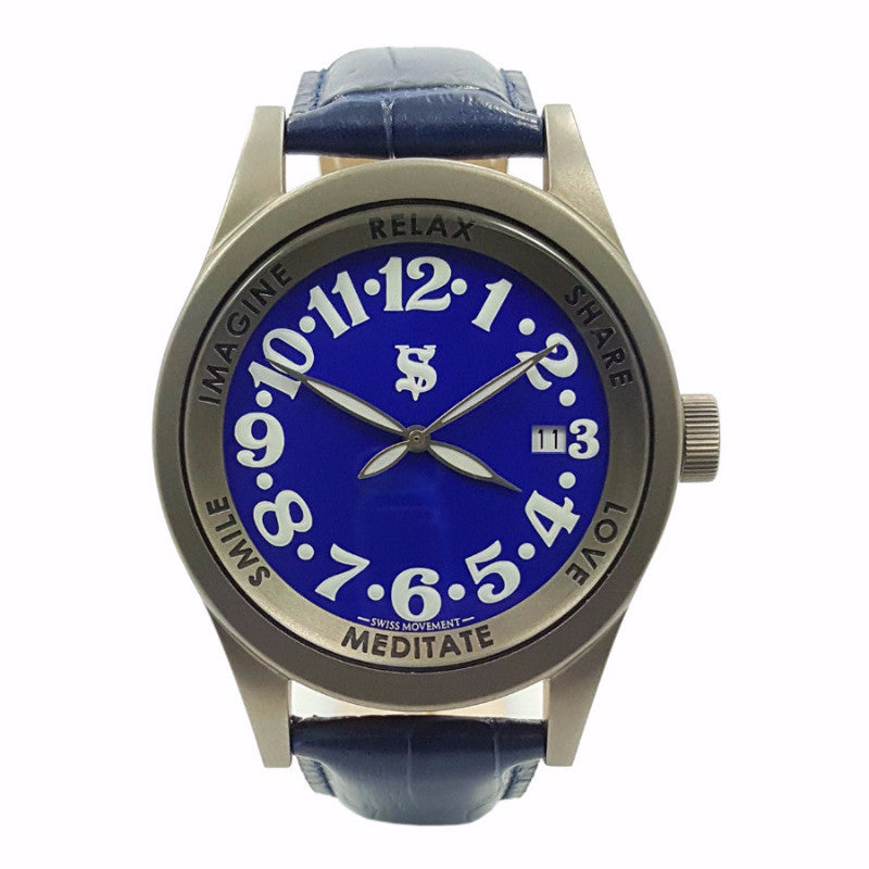 SHERSHER UNISEX TITANIUM BLUE DIAL GENUINE LEATHER Metaphysical Holistic Healing Watch