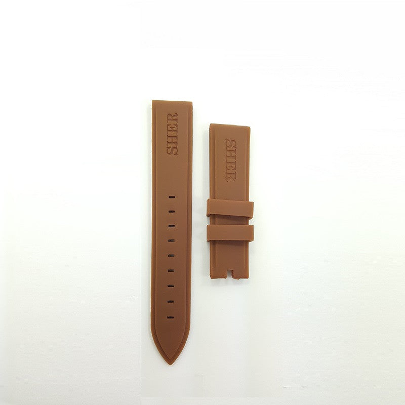SHERSHER SILICON RUBBER STRAP DARK BROWN COLOR
