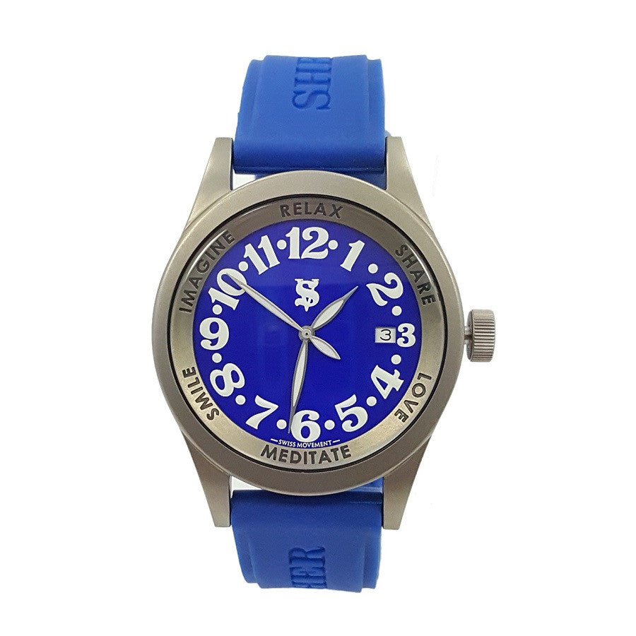 Shersher Unisex Titanium Blue Dial Silicon Strap Metaphysical Holistic Healing Watch
