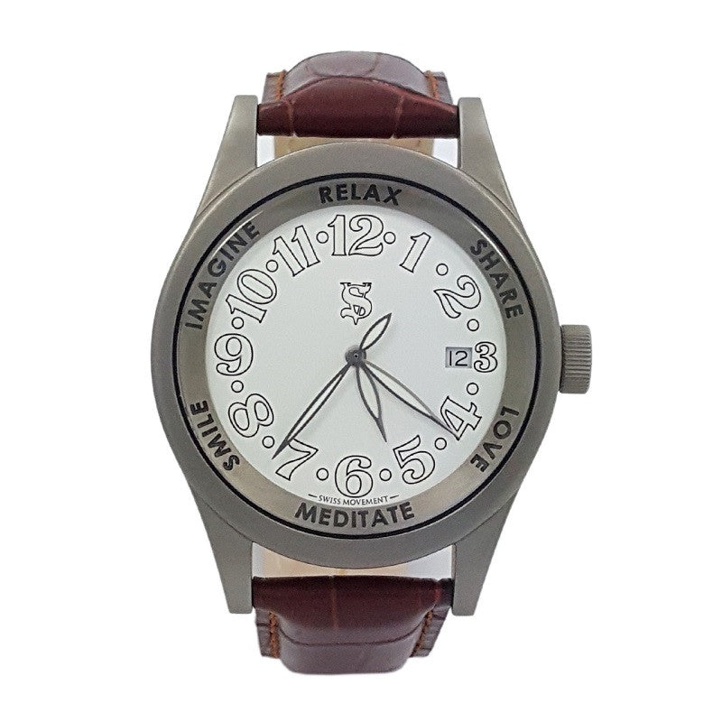 SHERSHER UNISEX WATCH TITANIUM WHITE DIAL Genuine Leather Metaphysical Holistic Healing Watch