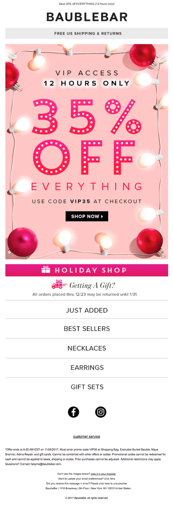 Baublebar holiday email marketing