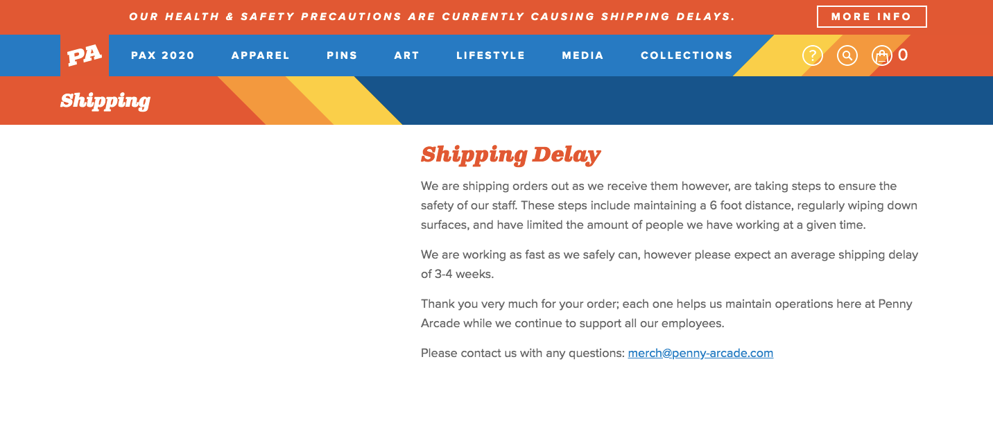 Penny Arcade Shipping Delay