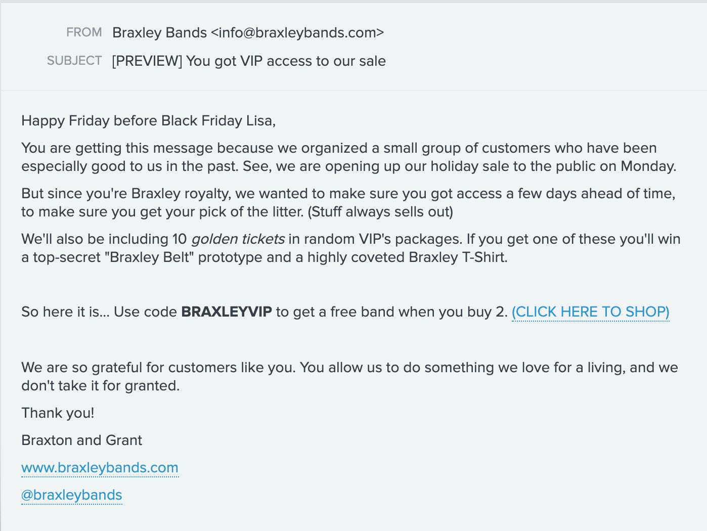 A plain text email from Braxley Bands that was sent to their loyal customers, offering them an early Black Friday deal