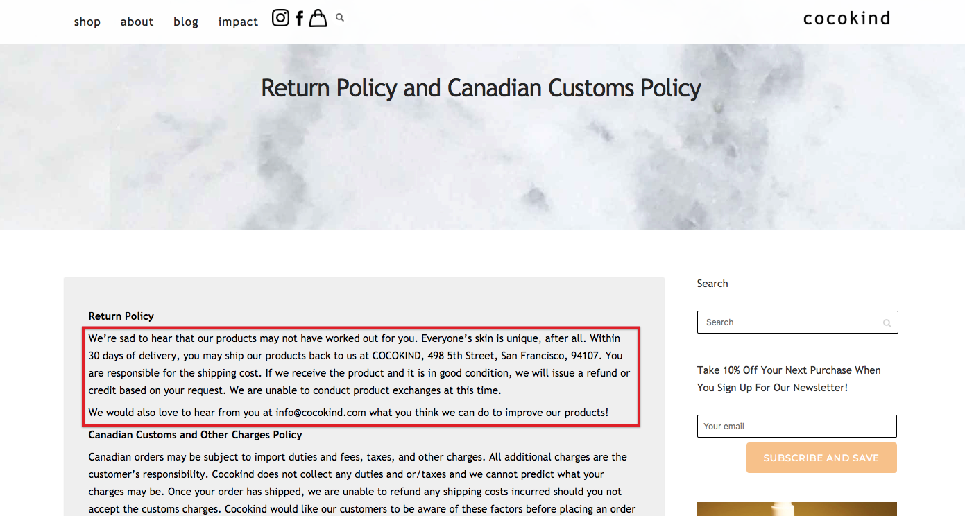 Screenshot of Cocokind's return policy