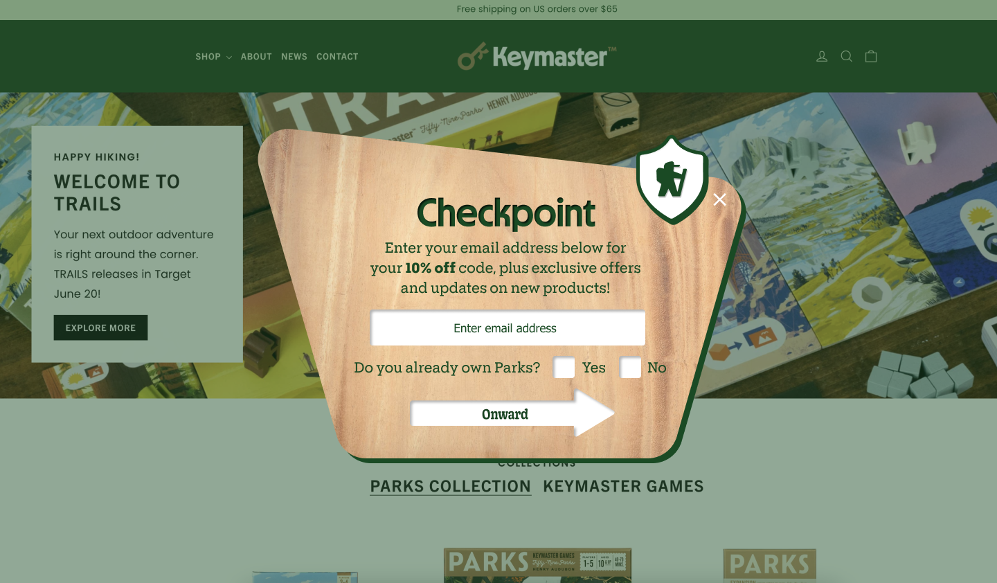 Keymaster games pop-up that asks if the customer has purchased their card game before