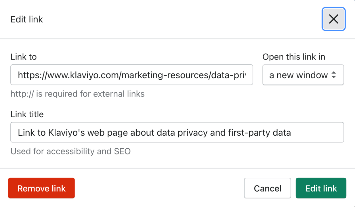 Screenshot of the Shopify backend where you can add alt text to a link.