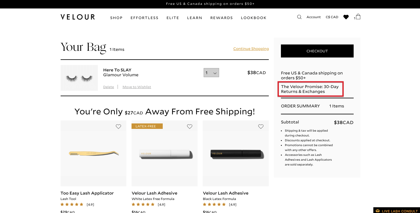 Screenshot of Velour Lashes' product page that highlights its return policy