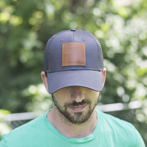 TRUCKER HAT | Charcoal and Leather Patch | Isaiah 46.4
