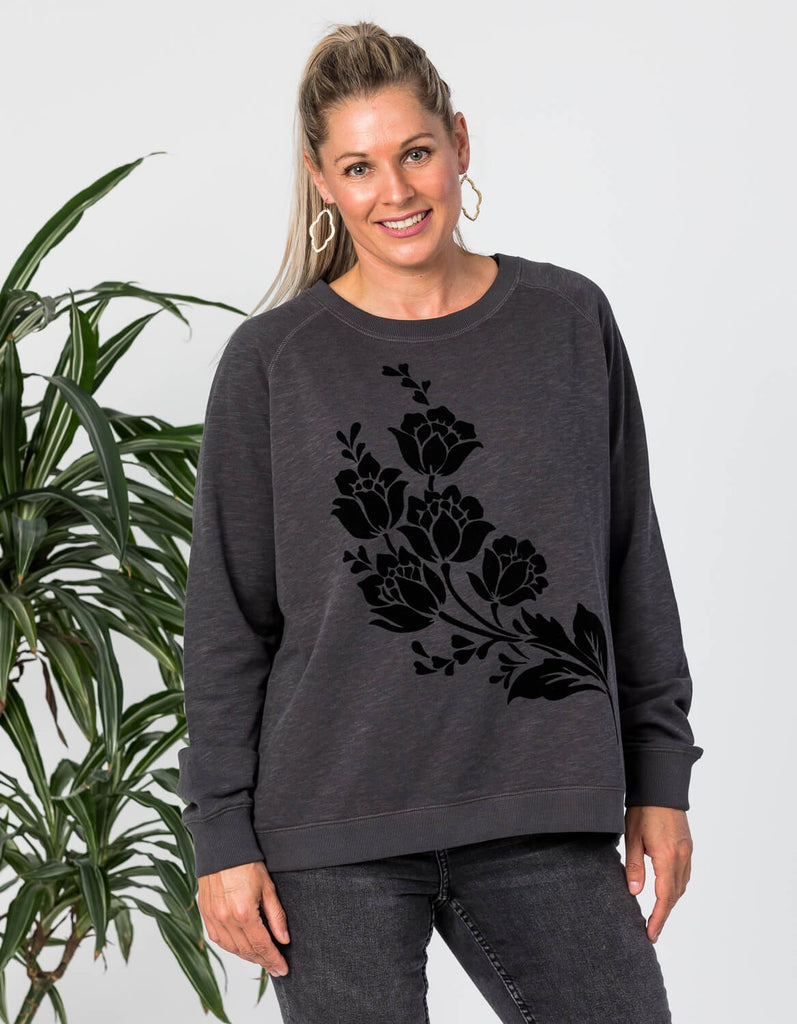 Black Flock Floral Sweater - Stella and Gemma