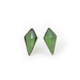 Faceted kite shapes hand carved from NZ Greenstone and set in sterling silver.