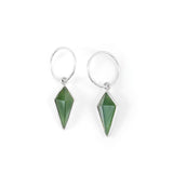 Faceted kite shapes hand carved from NZ Greenstone set in sterling silver and hung on small 10mm sterling silver hoops.