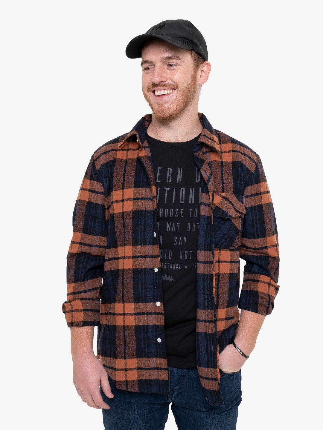 Navy and Rust Plaid Unisex Classic Flannel Shirt