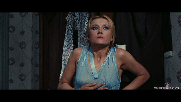Barbara Bouchet in blue lingerie in Amuck