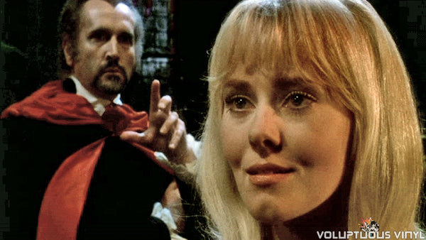 Man in Black and Yutte Stensgaard as Carmilla in Lust for a Vampire