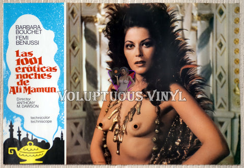1001 Nights Of Pleasure [Las 1001 eróticas noches de Ali Mamun] (1979) - Spainish Lobby Card - Topless Harem girl