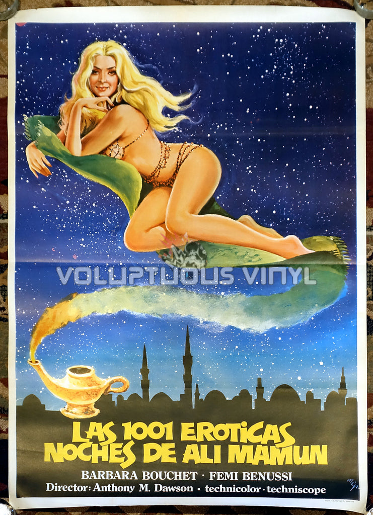 1001 Nights Of Pleasure [Las 1001 eróticas noches de Ali Mamun] (1979) - Spanish 1-Sheet - Barbara Bouchet On Magic Carpet