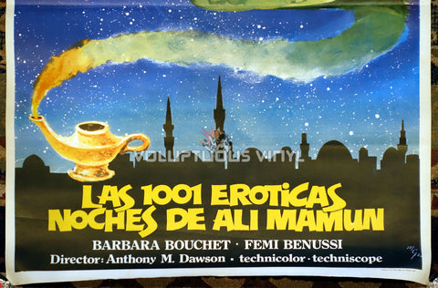 1001 Nights Of Pleasure [Las 1001 eróticas noches de Ali Mamun] (1979) - Spanish 1-Sheet - Barbara Bouchet On Magic Carpet - Bottom Half