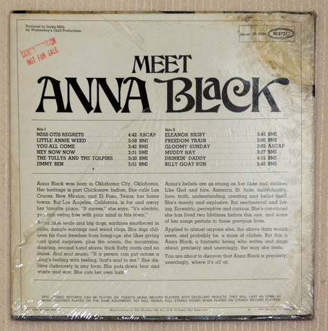 Anna Black ‎– Meet Anna Black - Back Cover - Vinyl Record