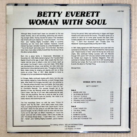 Back album cover to Betty Everett record Woman With Soul