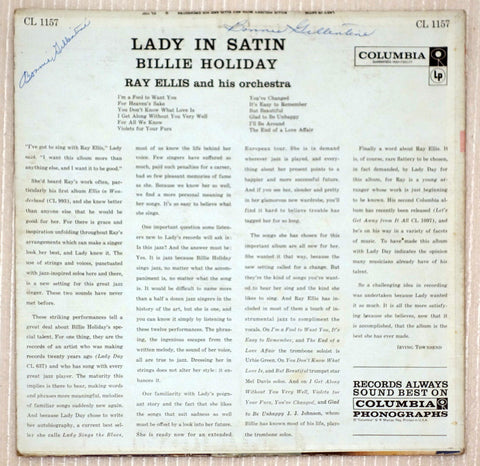 Billie Holiday With Ray Ellis And His Orchestra ‎Lady In Satin Vinyl Record Back Cover