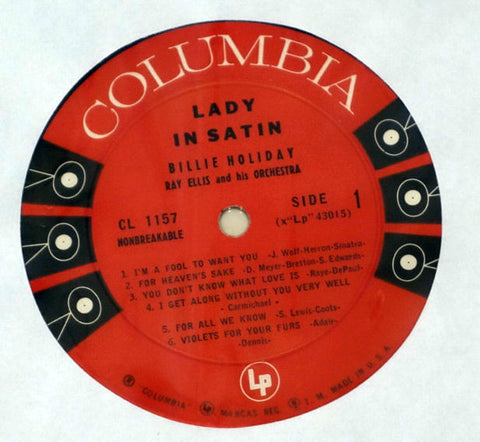 Billie Holiday With Ray Ellis And His Orchestra ‎Lady In Satin Vinyl Record Label
