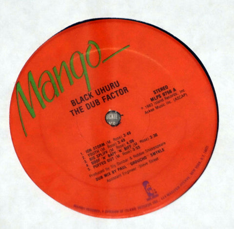Black Uhuru ‎– The Dub Factor - Label - Vinyl Record