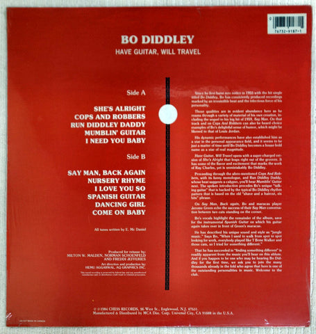 Back album cover to Bo Diddley record Have Guitar, Will Travel