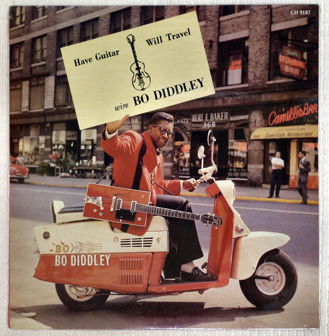 Front album cover to Bo Diddley record Have Guitar, Will Travel