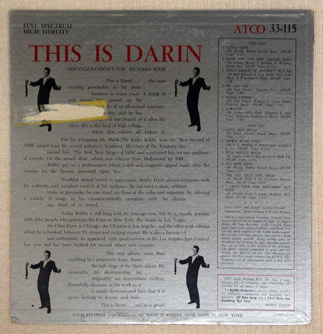 Bobby Darin This Is Darin vinyl record back cover.
