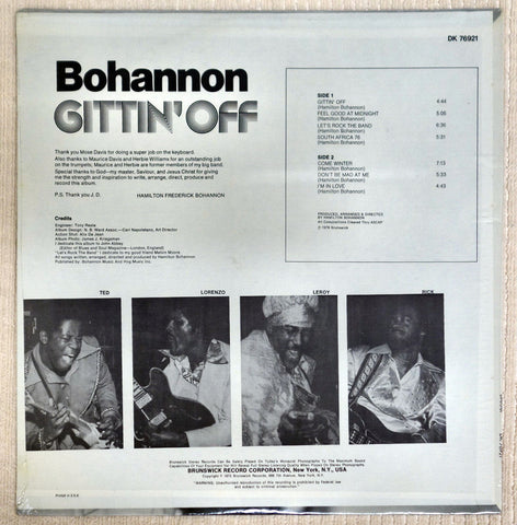 Back album cover to Bohannon record Gittin' Off