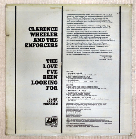 Back album cover for Clarence Wheeler vinyl record The Love I've Been Looking For