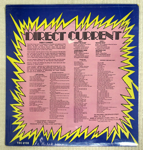 Back album cover to Direct Current vinyl record.